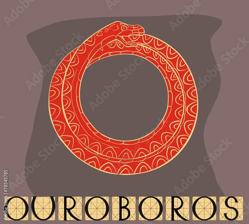 Red Ouroboros with title © Kazakova Maryia