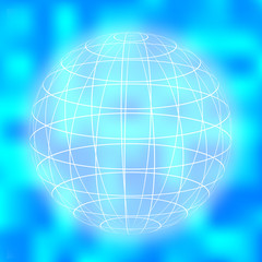 earth globe icon on blurry background