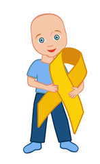 The kid holds a gold ribbon
