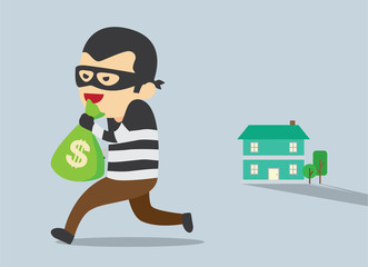 Man in mask trying to steal money form house