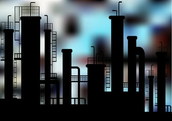 vector factory silhouette on blurry background