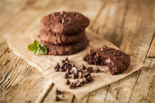 Fotobehang Koekjes Double chocolate chip cookies
