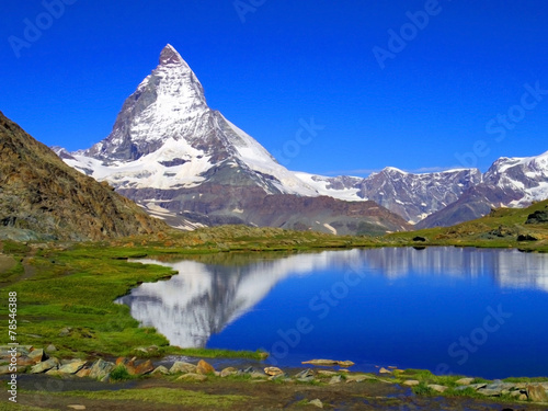 Fotobehang Alpen Clear beautiful view of Matterhorn, Zermatt, Switzerland