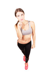 Sporty fit confident woman isolated