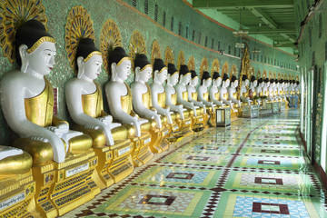 Buddha Statues at U Min Thonze Pagoda in Sagaing, Myanmar