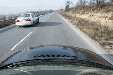 Car in move on the road