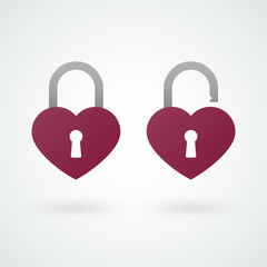 Closed and opened padlock icons of love