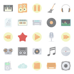 Music and audio flat icons set
