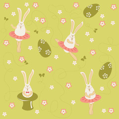 Easter bunnies dancing and singing