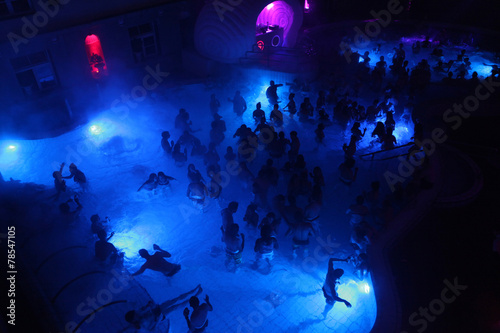Aluminium Centraal Europa Night party in thermal bath in Budapest, Hungary.