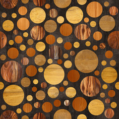 Abstract circular pattern - different colors - wooden texture