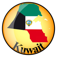 orange button with the image maps of Kuwait