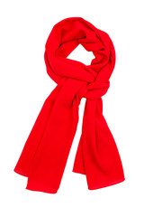 Red silk scarf isolated on white background.
