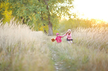portrait of two beautiful young sisters in the autumn