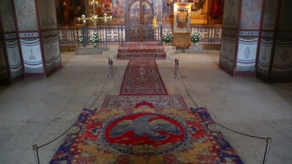 Interior of the St. Sophia Cathedral in Veliky Novgorod, Russia.