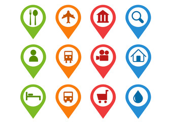 flat mapping pin icons