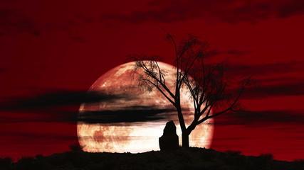 red sky big moon tree 4k
