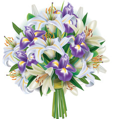 Bouquet of white lilies and irises