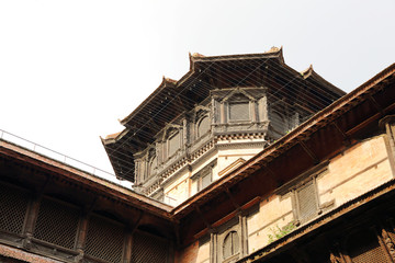 Closeup of a tower at one corner of  Nasal Chowk Courtyard