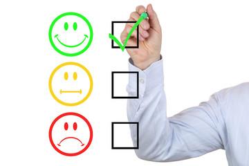 Businessman bei Bewertung einer sehr guten Service Qualität
