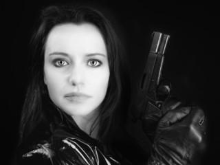 Secret agent woman with gun
