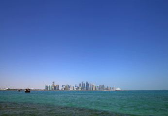 Doha skyline with modern highrise buildings