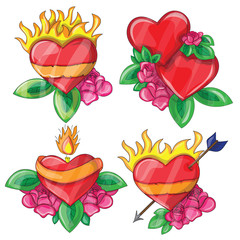 Cartoon hearts with fire for design