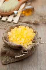 yellow salt spa set with aroma oil
