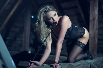 Sensual woman in underwear and whip crawling on timber