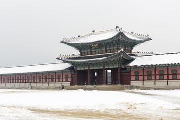 beautiful gyeongbok palace in soul, south korea - winter