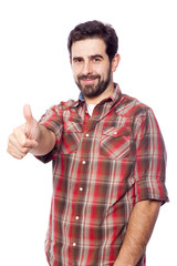 Handsome casual man giving thumbs up sign, isolated on white bac