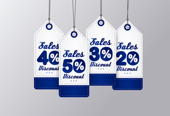 Sale Tags Design. Blue vintage style. Vector illustration