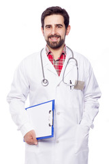 Portrait of handsome doctor holding a clipboard on white backgro