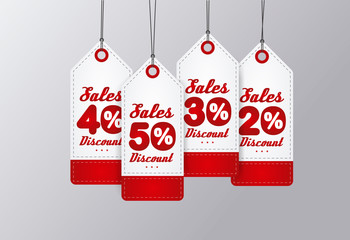 Sale Tags Design. Red vintage style. Vector illustration