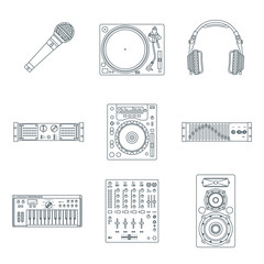 vector outline sound dj equipment devices icons set
