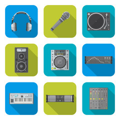 vector color flat design sound dj equipment devices icons set