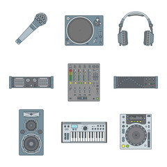 vector various color sound dj equipment devices icons set