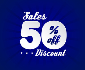 Sale poster with 50% percent discount. Blue edition for sales.