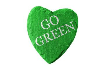 Grünes Herz mit Go Green Schriftzug