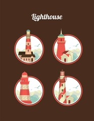 set of icons of lighthouses