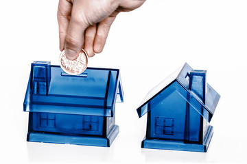 Blue money boxes - house