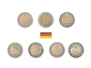 Set of Commemorative 2 euro coins of Germany over white