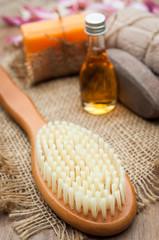 Aroma spa set on white wooden table