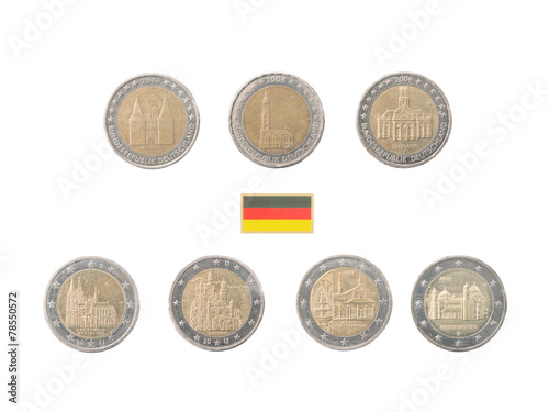 Set of Commemorative 2 euro coins of Germany over white Poster
