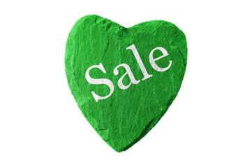 grünes Herz mit Sale Schriftzug
