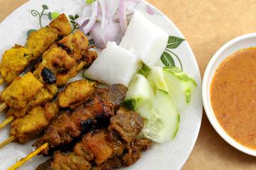 Malaysian chicken satay with delicious peanut sauce.