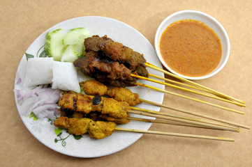 Chicken satay with meat satay. Traditional Malay food.