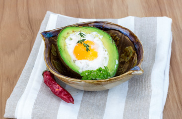 Egg backed in avocado