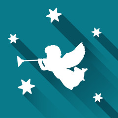 Silhouette of angel with trumpet and stars,vector background