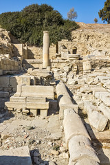Remains of Water Pipes, Columns and Buildings in the Ruins of an